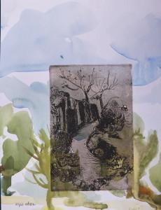 שביל/ תצריב נחושת על צבעי מים 19x25